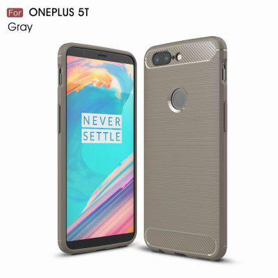 Buy GRAY For OnePlus 5T Case Cover Carbon Fiber Luxury Silicone Soft Texture Back Phone Cases for $4.96 in GearBest store