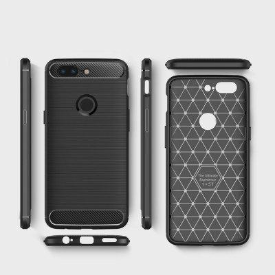 Buy BLACK For OnePlus 5T Case Cover Carbon Fiber Luxury Silicone Soft Texture Back Phone Cases for $4.96 in GearBest store