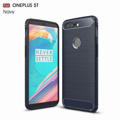 Buy NAVY For OnePlus 5T Case Cover Carbon Fiber Luxury Silicone Soft Texture Back Phone Cases for $4.96 in GearBest store