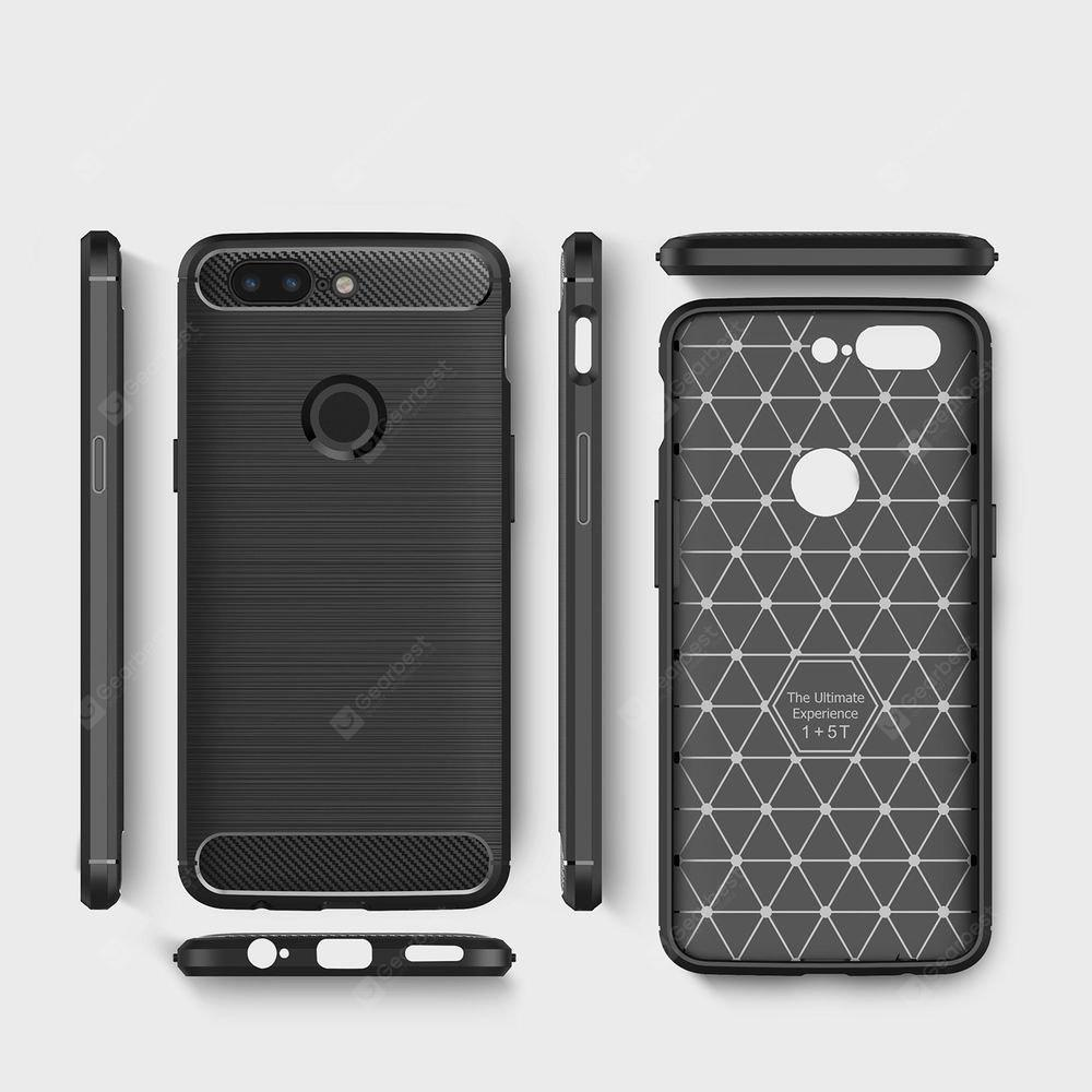 For OnePlus 5T Case Cover Carbon Fiber Luxury Silicone Soft Texture Back Phone Cases