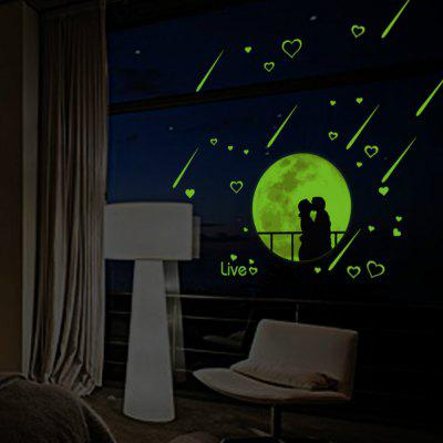 Luminous Moon Meteor Shower Lover Living Room Wall Decoration Fluorescent Wall Stickers