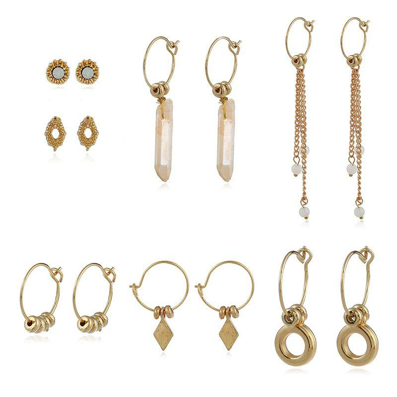 7PAIR Set of Earrings with Hand-Woven Stone Crystal Beads Chain Pendant