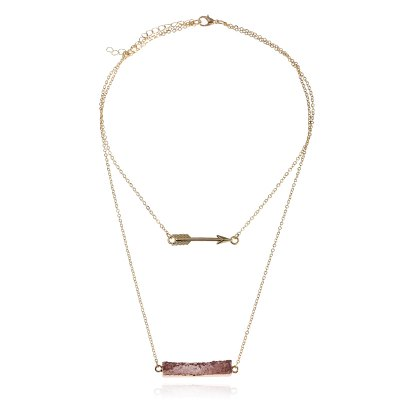 Fashionable Multi-Layer Alloy Chain Resin Pendant Necklace