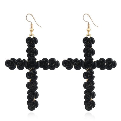 Alloy Studded with Flower Cross Earrings