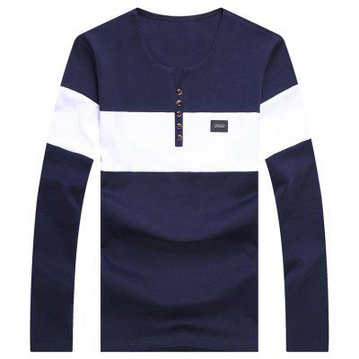 Male Splicing and Coloring Long Sleeved T-Shirts