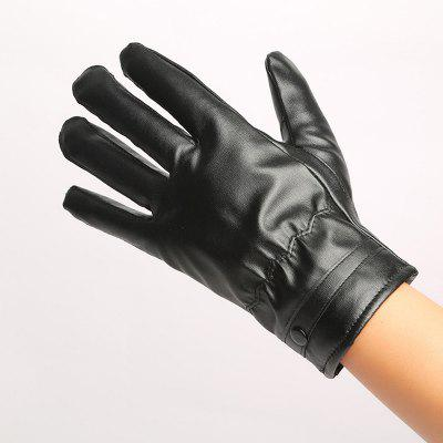 Warm Touch Glove Touch Screen Glove with Thick Cashmere Autumn and Winter Men'S Touch Screen PU Gloves