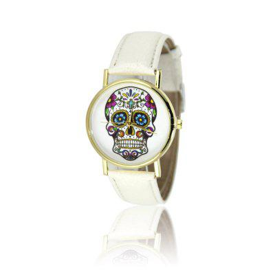 Color Skull Female Watch Simple Style Watch Lychee Pattern Strap with Gift Box