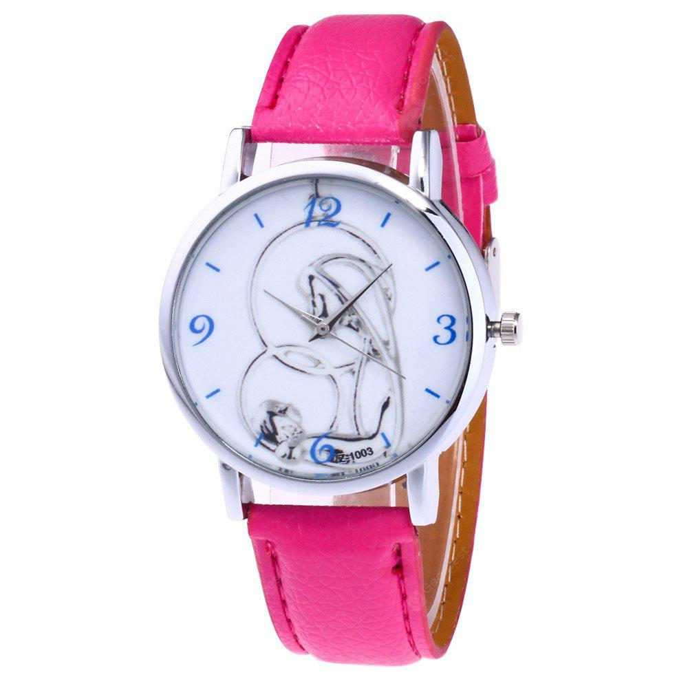 New Lychee Pattern Strap Silver White Cartoon Business Quartz Watch with Gift Box