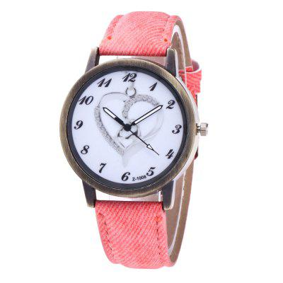 With Gift Box Casual Cowboy Canvas Strap Creative Love Business Lady Quartz Watch