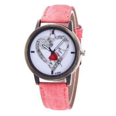 With Gift Box Women'S Casual Denim Canvas Strap with Love Business Quartz Watch