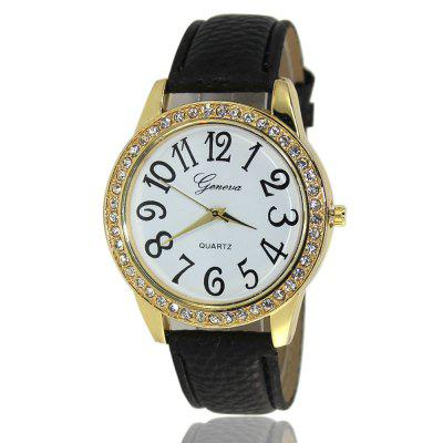 Fashionable Women'S Watches Roman-Style Diamonds Watch Embossed Strap with Gift Box