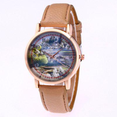 ZhouLianFa New Trend of The Golden Dial Lychee Leather Landscape Map Quartz Watch with Gift Box