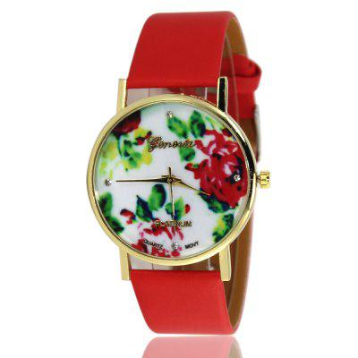 Fashion Flowers Pattern Ladies Watch Smooth Pattern Strap Simple Watch with Gift Box