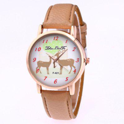ZhouLianFa New Trend Rose Gold Dial Lai Chi Pattern Leather Christmas Deer Figure Quartz Watch with Gift Box