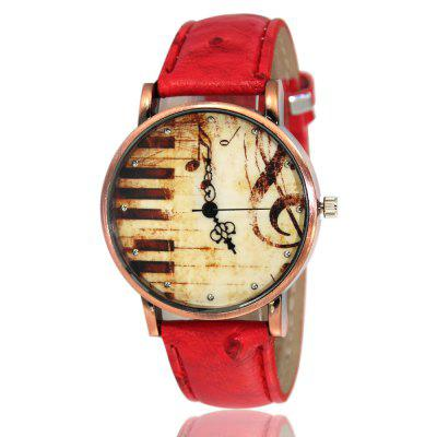 Retro Musical Note Lady'S Watch with Scar Belt Classic Watch with Gift Box