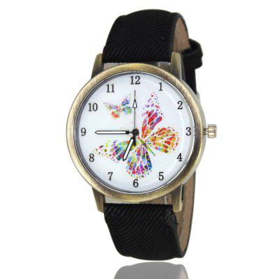 Double Butterfly Pattern Women'S Watch Denim Canvas Strap Casual Watch with Gift Box