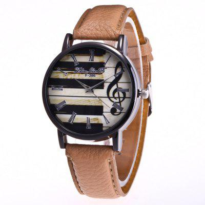 ZhouLianFa New Trend Black Dial Lychee Leather Notes Quartz Watch with Gift Box