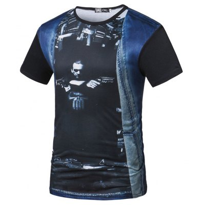 2018 Summer Casual Knitted Jeans Round Collar Creative Printing T-Shirt