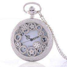 REEBONZ Steampunk Vintage Hollow Silver Gear Hollow Quartz Pocket Watch Necklace Pendant
