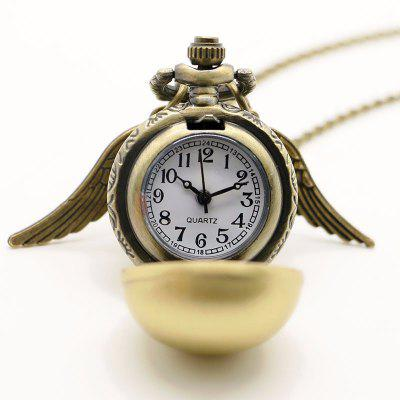 Buy REEBONZ Steampunk Vintage Spherical Wings Quartz Pocket Watch Necklace Pendant1 BRONZE-COLORED for $8.18 in GearBest store