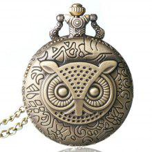 REEBONZ Steampunk Vintage Owl clamshell Quartz Pocket Watch Necklace Pendant