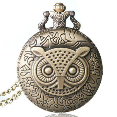 Buy REEBONZ Steampunk Vintage Owl clamshell Quartz Pocket Watch Necklace Pendant COPPER COLOR for $7.89 in GearBest store