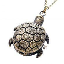 REEBONZ Steampunk Vintage Turtle Clamshell Quartz Pocket Watch Necklace Pendant