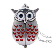 REEBONZ Steampunk Vintage Red Owl Quartz Pocket Watch Necklace Pendant