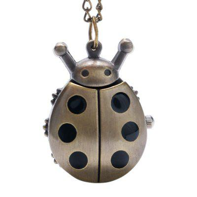 Buy REEBONZ Steampunk Vintage Ladybug Quartz Pocket Watch Necklace Pendant21 BLACK for $7.89 in GearBest store