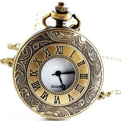 Buy REEBONZ Steampunk Vintage Hollow Quartz Pocket Watch Pendant COPPER COLOR for $8.18 in GearBest store