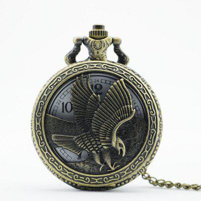 Buy REEBONZ Steampunk Vintage Hollow Eagle Quartz Pocket Watch Necklace Pendant COPPER COLOR for $3.96 in GearBest store