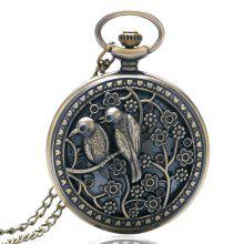 REEBONZ Steampunk Vintage Hollow Brid Quartz Pocket Watch Necklace Pendant