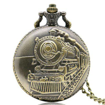 Buy REEBONZ Steampunk Vintage Train Quartz Pocket Watch Necklace Pendant COPPER COLOR for $7.89 in GearBest store