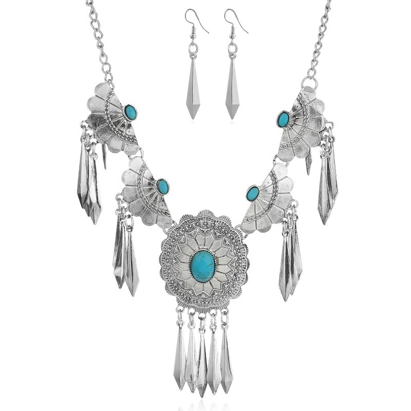 Britain Royal Knight Female Necklace Earrings Sword Jewelry Sets