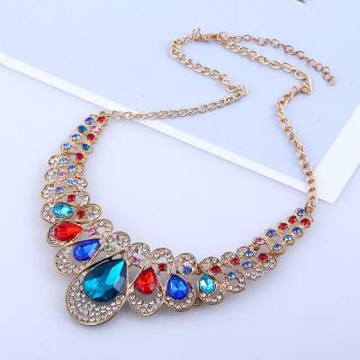 Fashion Ethnic Crystal Water Drop Necklace Earrings Female