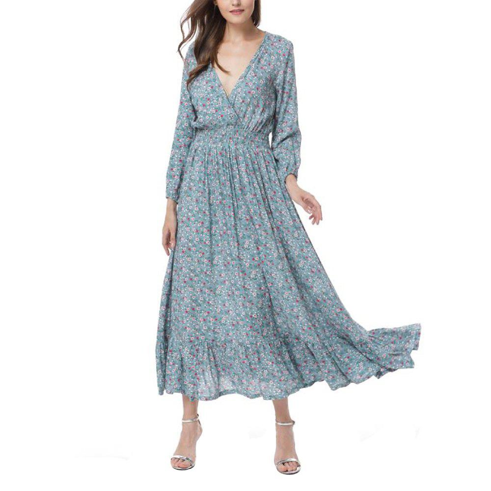 Fashion Sexy V-Neck Bohemian Vintage Floral Dresses