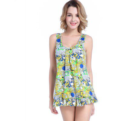 Fashionable Ladies High-End Sexy Lotus Leaf Print Beach Holiday Conjoined Bikini Swimsuit