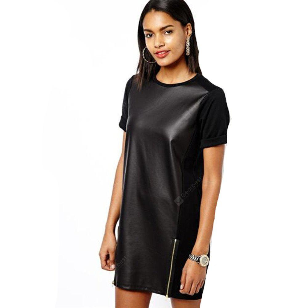 Women's Short Sleeve Zipper Loose Leather Dress Partywear Punk Costume