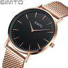 Buy GIMTO Women Watches 2017 Brand Luxury Fashion Quartz Ladies Watch Lover Clock Rose Gold Dress Casual girl relogio ROSE GOLD BAND BLACK DIAL