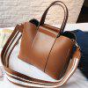 Wide Shoulder Strap Female Buck Bucket Bag - BROWN