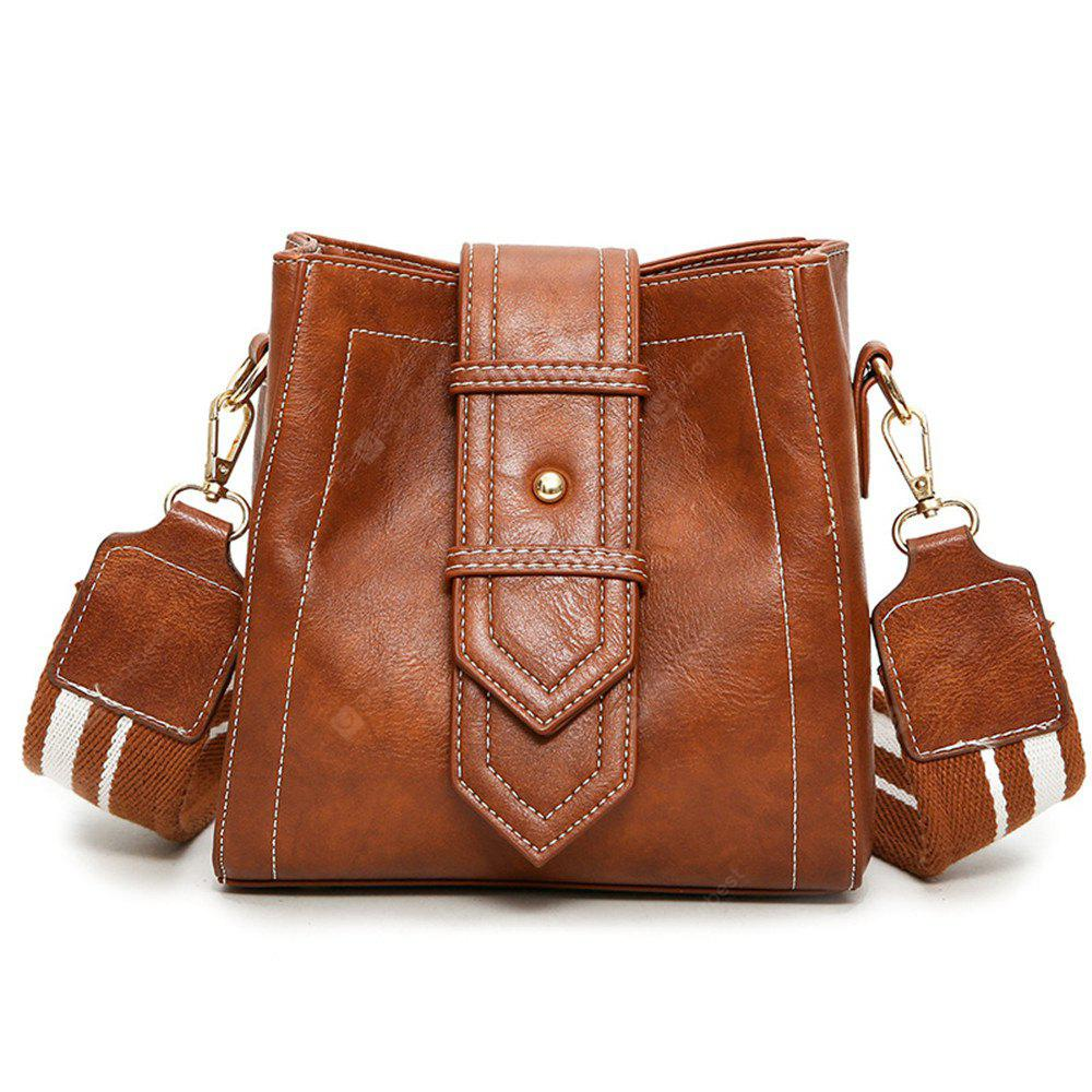 Messenger Female Retro Wide Shoulder Strap Bucket Bag