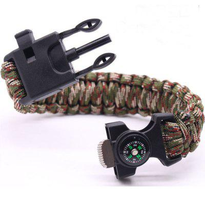 6 In 1 Multifunction Outdoor Survival Bracelet Fishing Line Hooks Compass Survival Bracelet Men's Outdoor Tool Camping E
