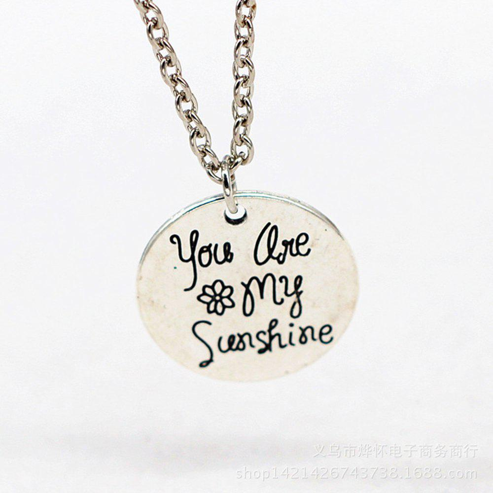 You Are My Sunshine   Letter Silver Necklace Punk Gothic Pendant Jewelry Gift