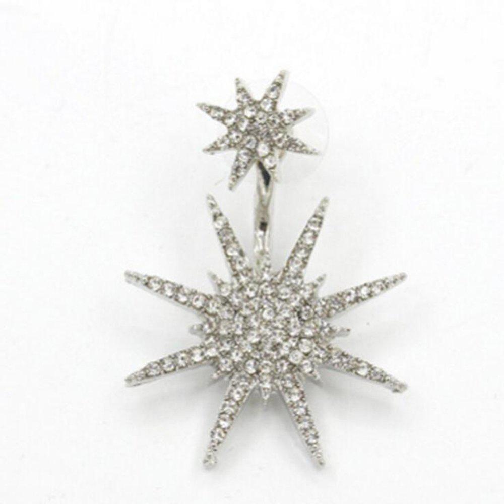 Women Fashion Hexagram Winter Snowflake Crystal Fission Stud Earrings Charms Jewelry Gift