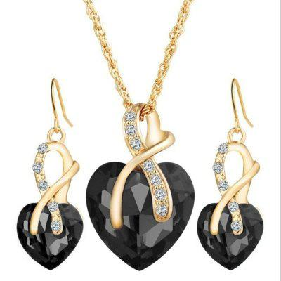 wedding jewelry Gold Plated Jewelry Sets For Women Crystal Heart Necklace Earrings Jewellery Wedding Accessories
