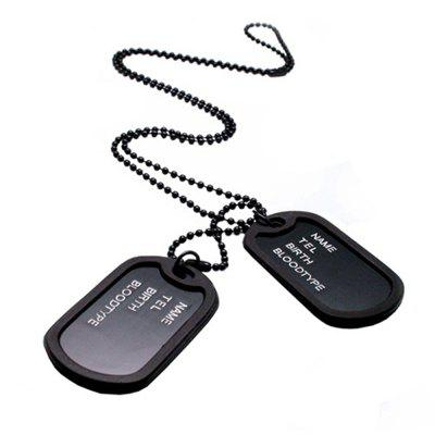 Military Army Style Black 2 Dog Tagss Chain Mens Pendant Necklace