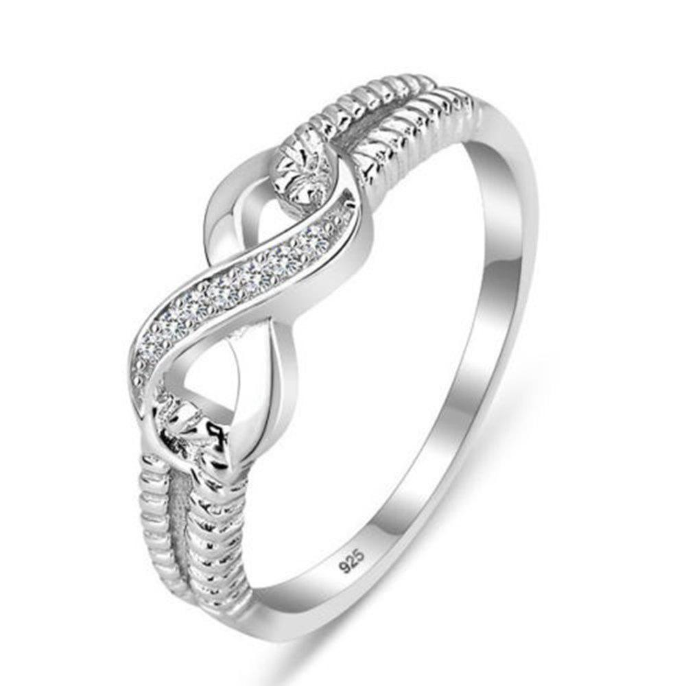 Trendy 925 Sterling Silver Infinity Ring Men and Women Symbol AAA zircon Ring