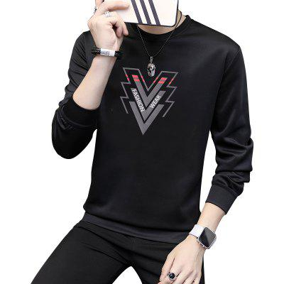 Men'S Round Neck Solid Color Printing Sweater