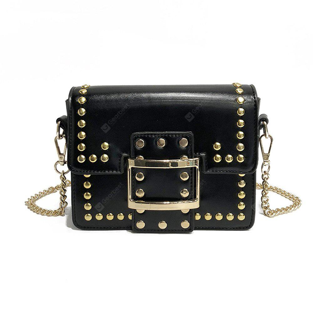 Stone Grain Rivets Envelopes Metal Chain Messenger Casual Handbags