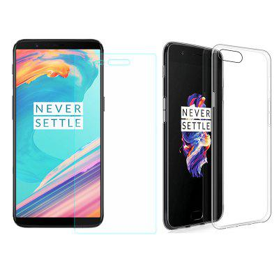 Silicone Case Protective Cover + 9H glass film screen protector  for Oneplus 5T